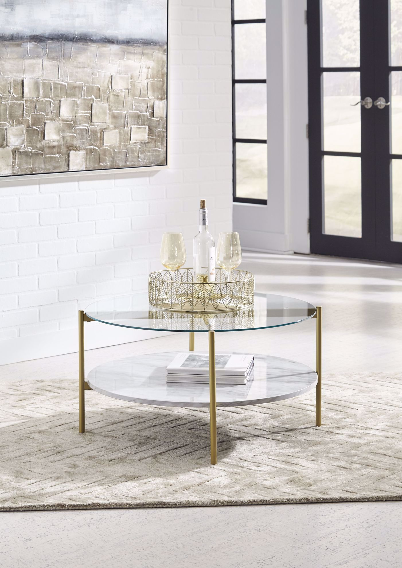 Picture of Wynora White-Gold Round Cocktail Table