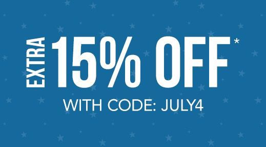 Extra 15% off with code: JULY4