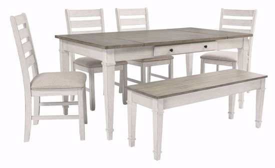 Picture of Skempton Dining Table 4 Chairs & 1 Bench