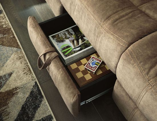 Picture of Huddle-Up Nutmeg Reclining Sofa with Drop Down Table