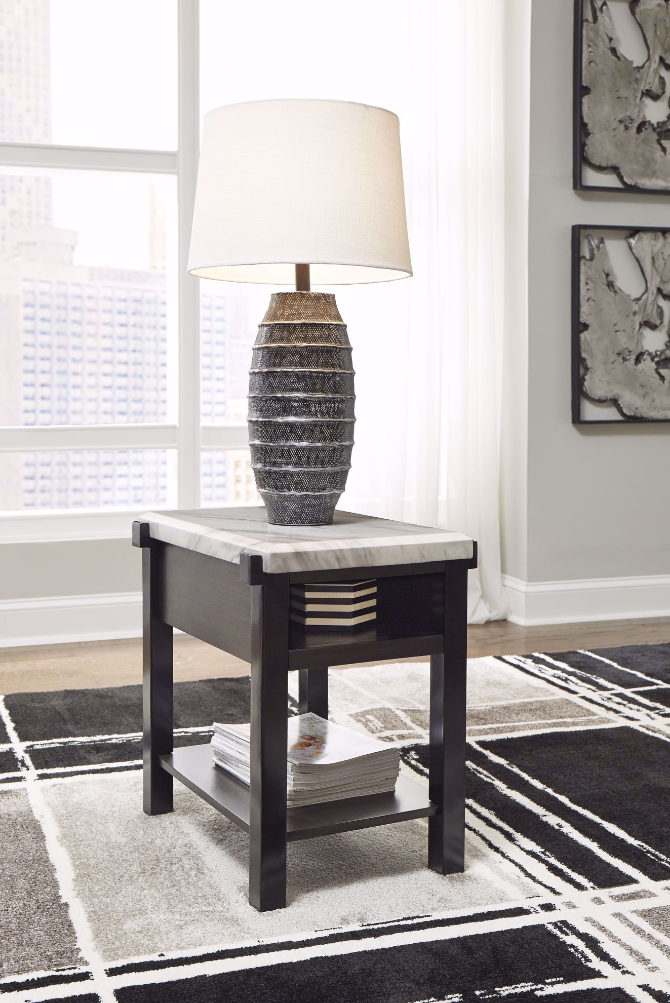Picture of Janilly Brown White Chairside Table