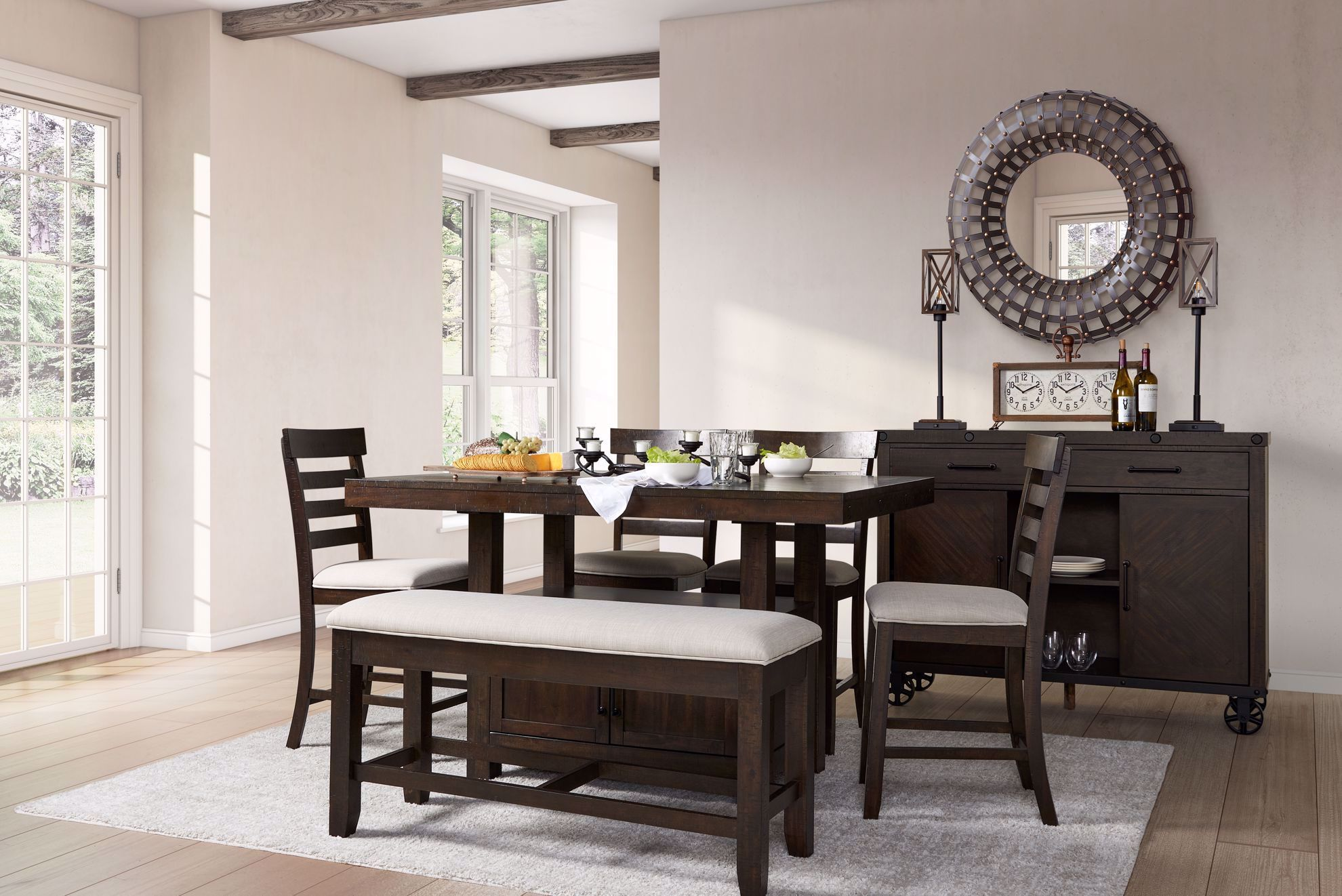 Picture of Colorado Counter Height Table with Four Chairs and Bench