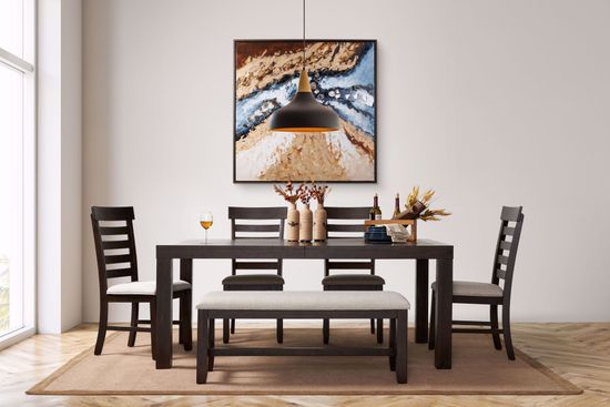 Picture of Colorado Dining Table with Four Chairs and One Bench
