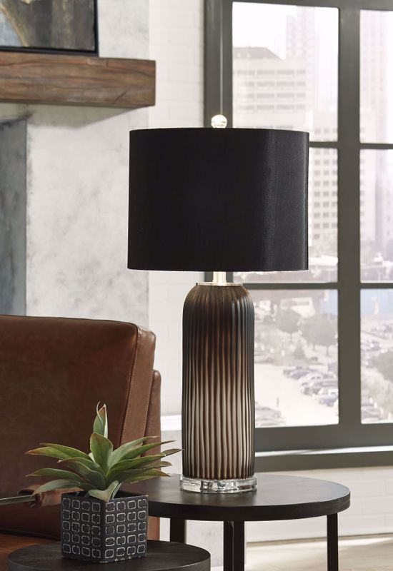 Picture of Abaness Black Glass Table Lamp