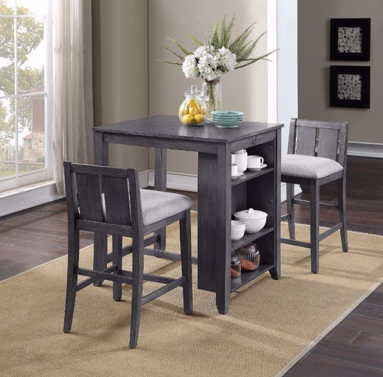 Picture of Heston Gray Storage Counter Height Table and 2 Stools