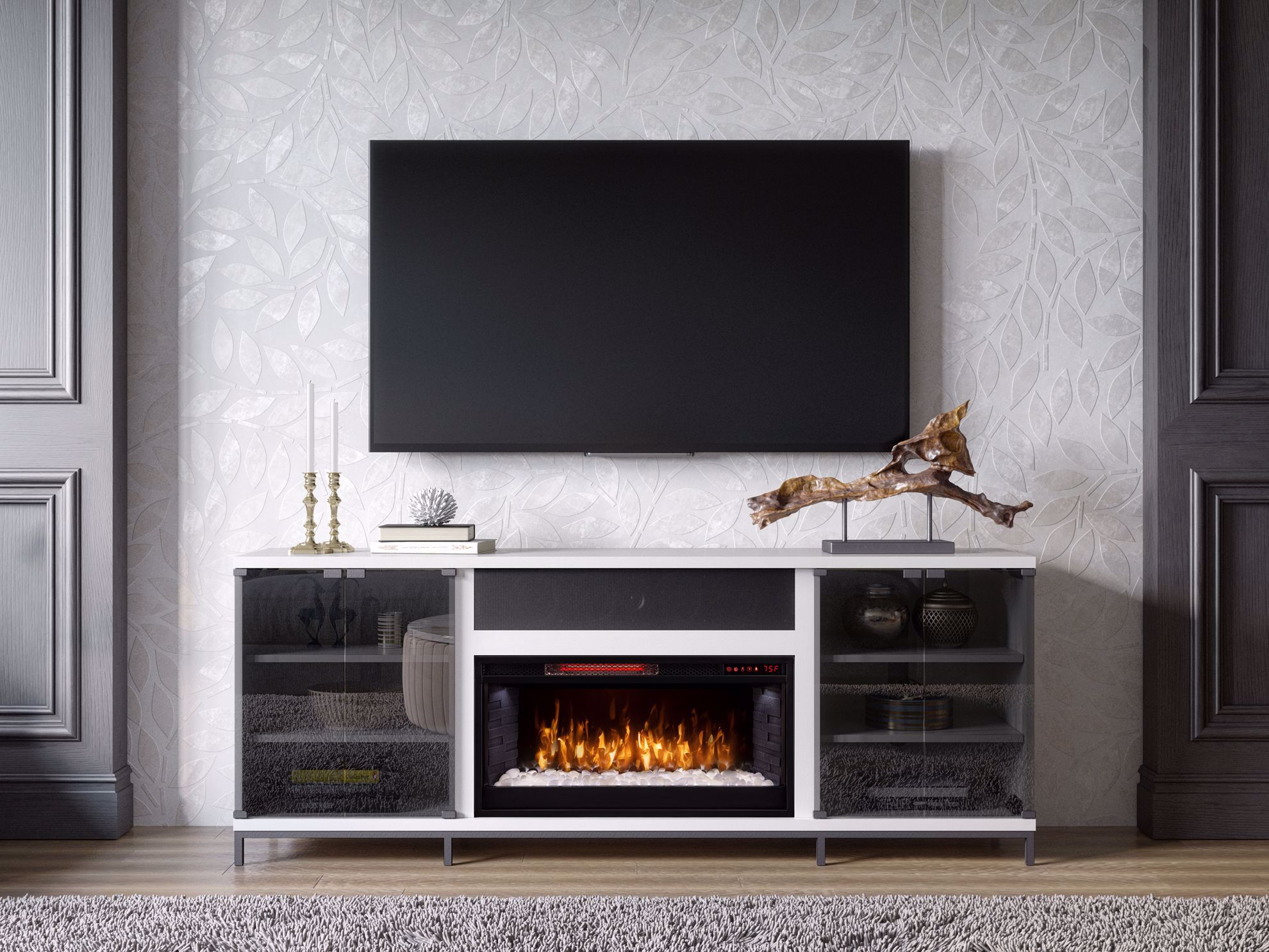 Picture of Fullerton White TV Stand with Fireplace
