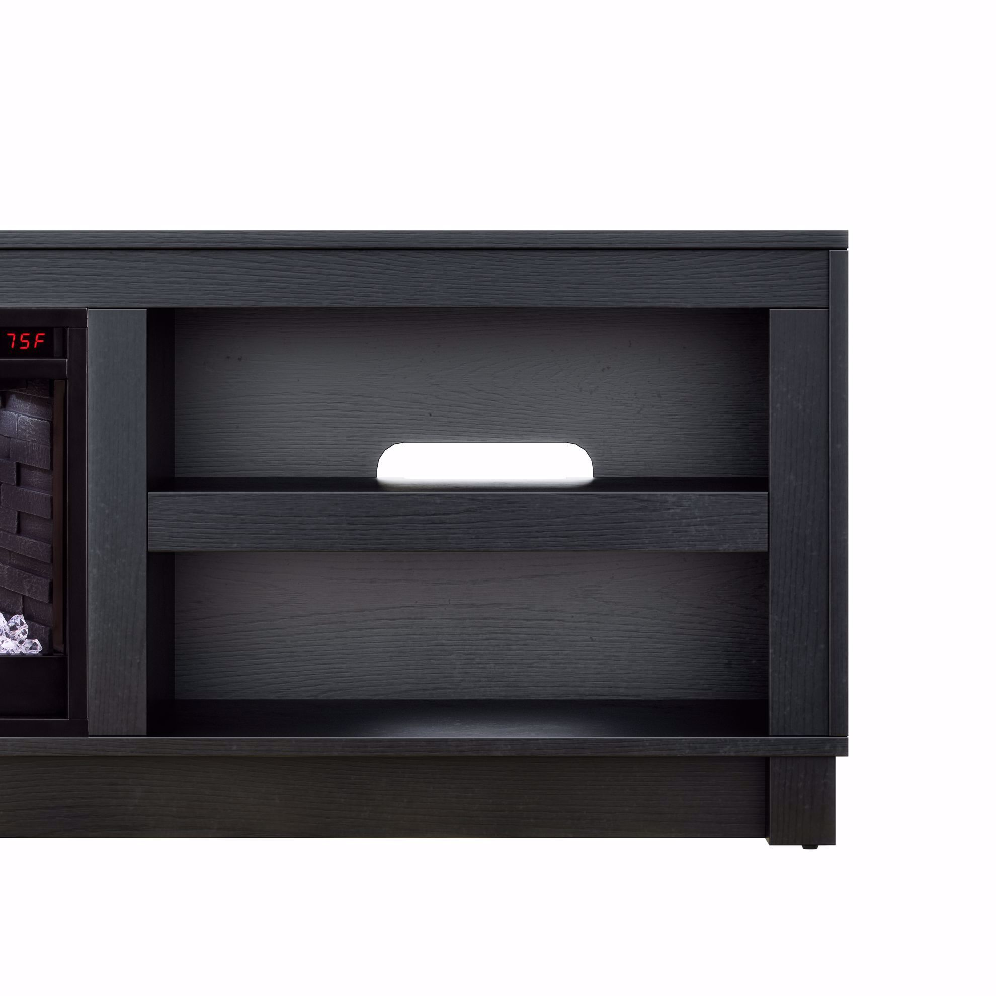 Picture of Bushwick Black TV Stand with Fireplace