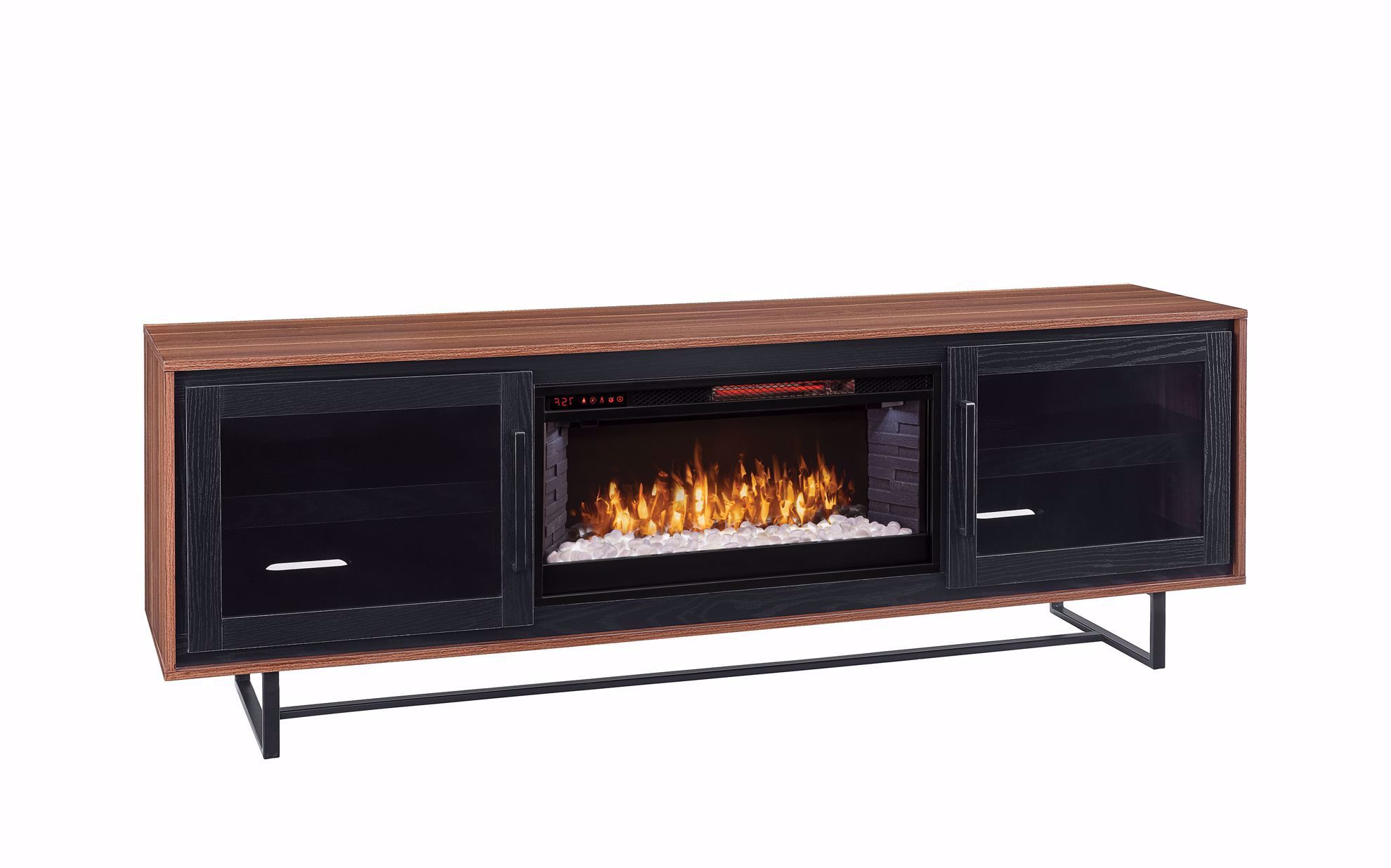 Picture of Santa Ana Brown/Black TV Stand with Fireplace