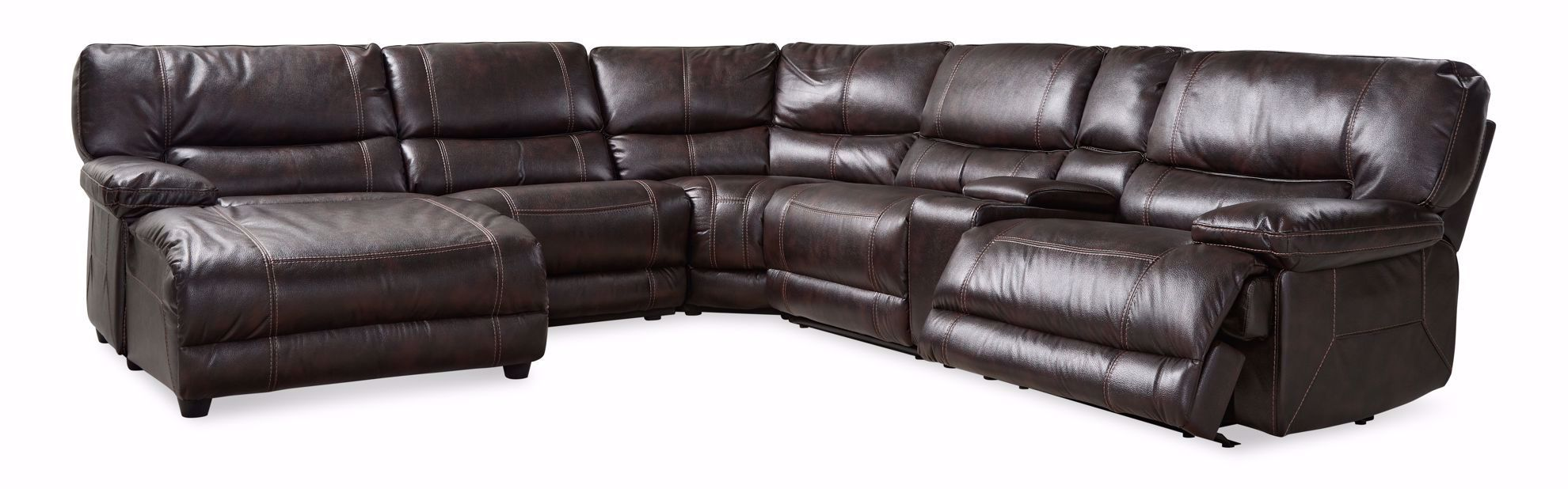 Picture of Rey Walnut 6-Piece Reclining Sectional With Chaise