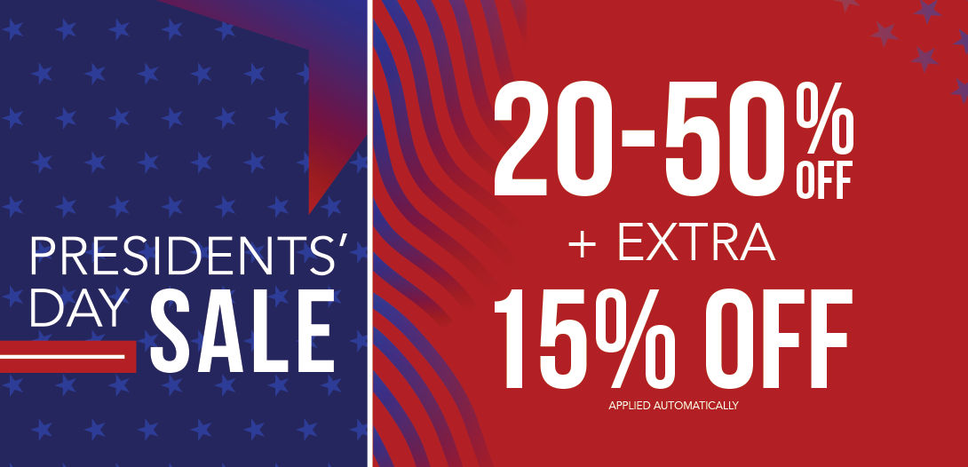 Presidents' Day Sale 20-50% off  + Extra 15% off applied automatically