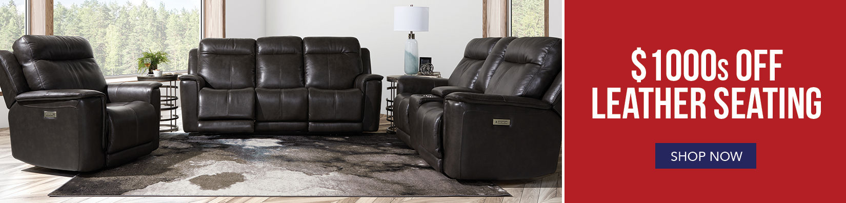 Living room with black leather reclining furniture and various accessories