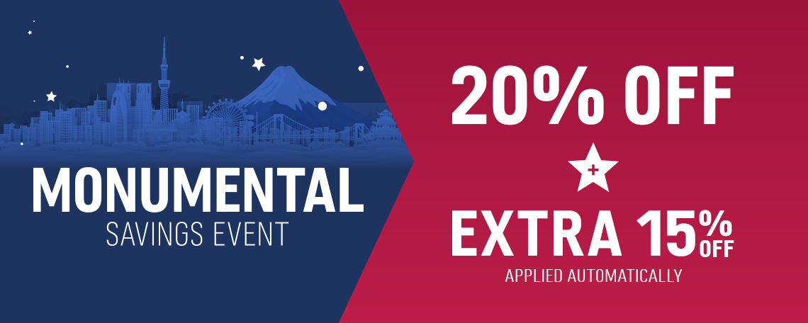 Monumental Savings Event 20% off + Extra 15% off applied automatically