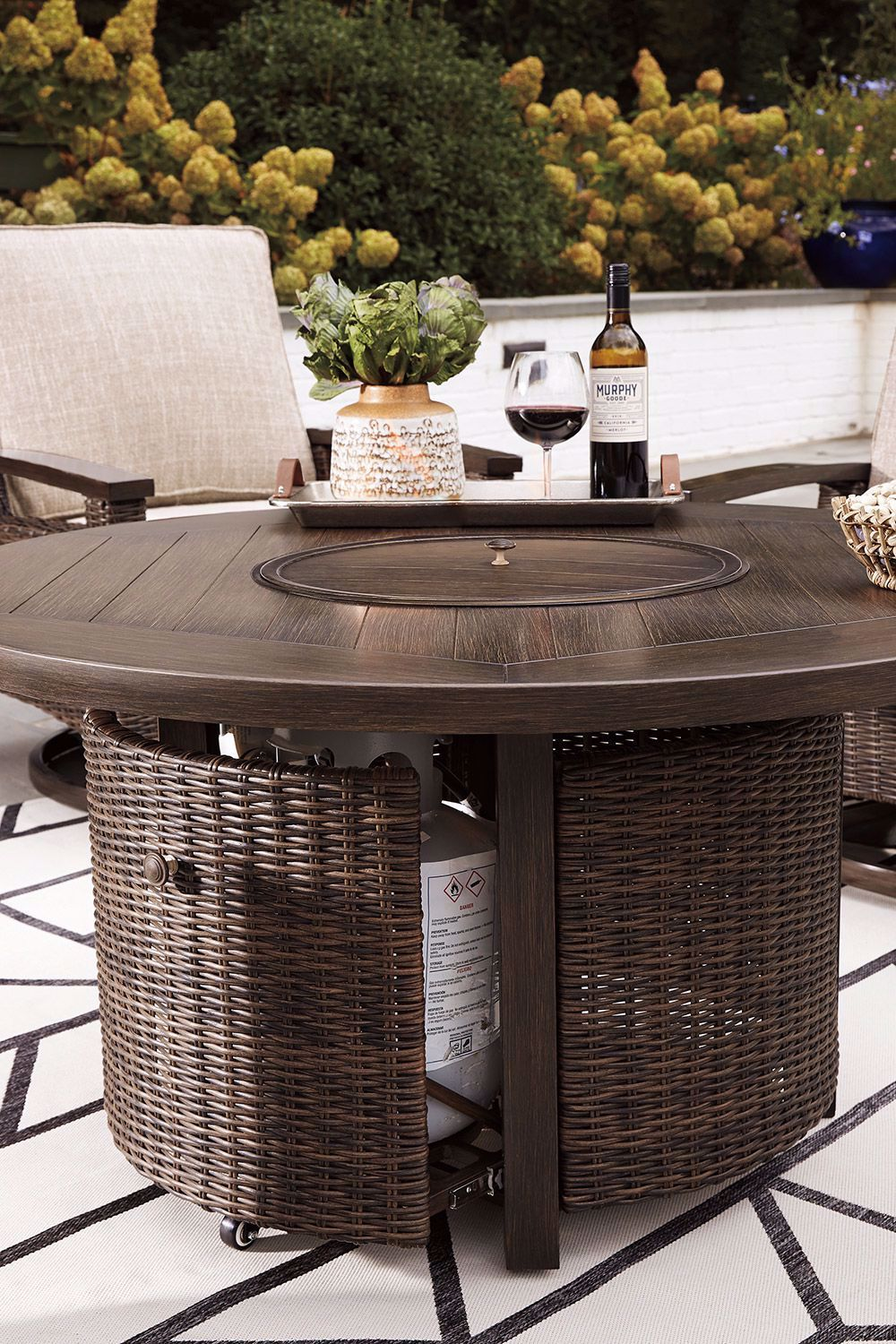 """Picture of Paradise Trail 48"""" Round Fireplace Table"""
