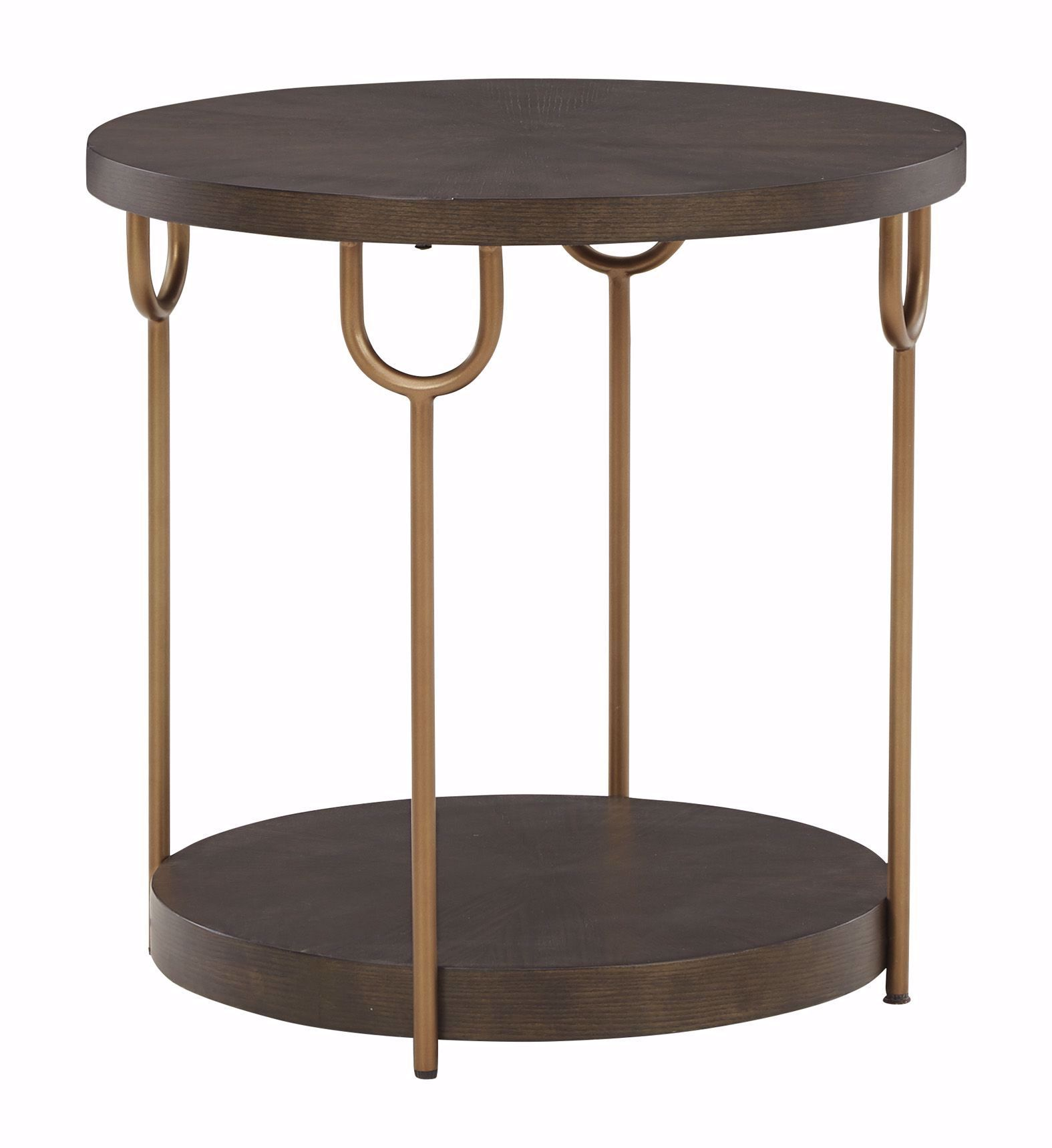Picture of Brazburn Brown and Gold Round End Table