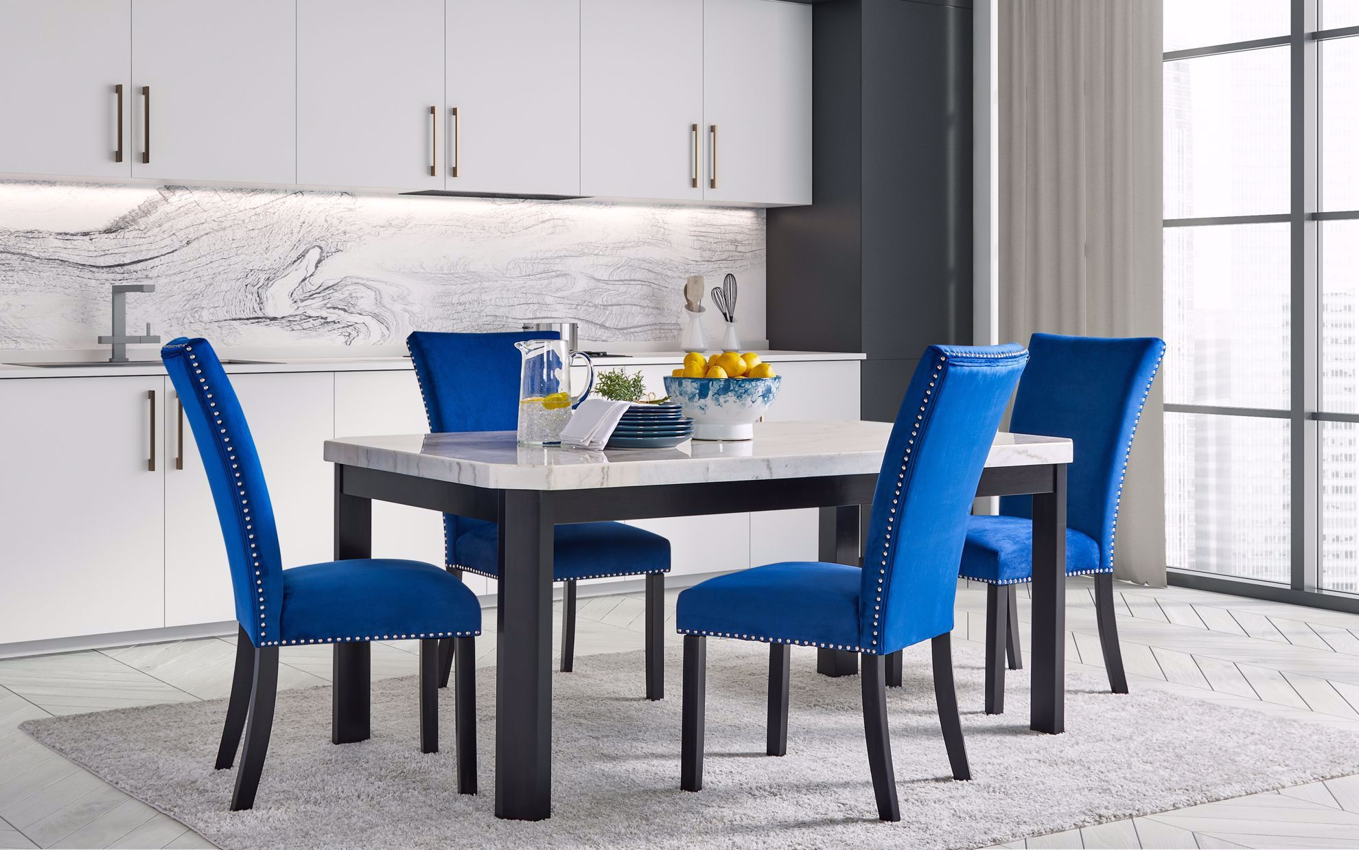 Picture of Francesca White Dining Table with 4 Chairs