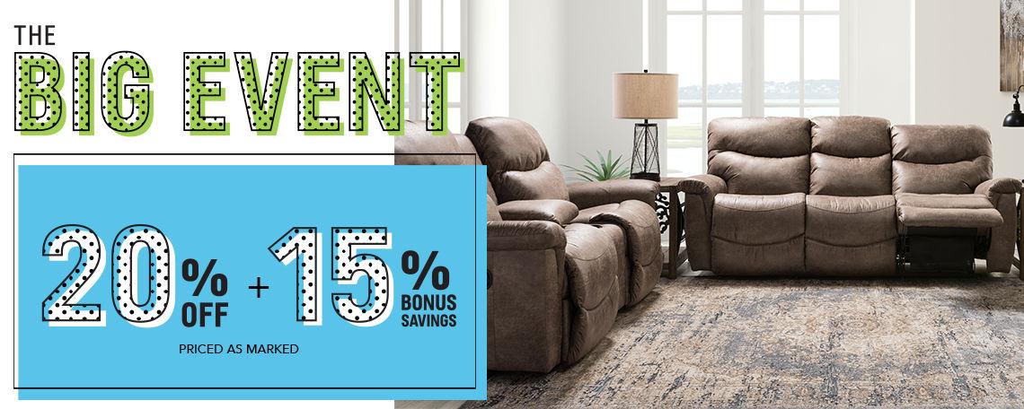 The Big Event | 20% off + 15% Bonus Savings priced as marked