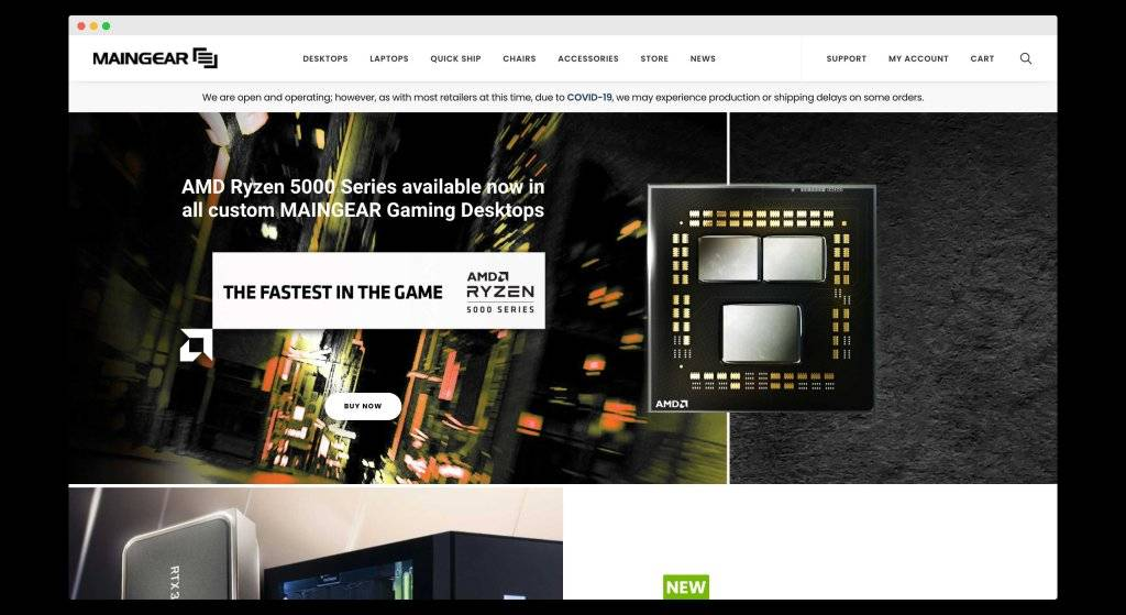 MainGear, A website for pre-builts and PC customizations