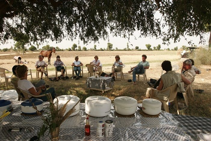 Lunch is served in open area after horse ride