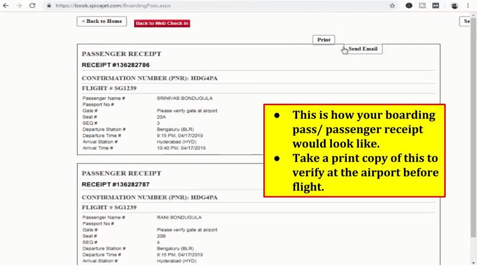 Spicejet Web Check-In Step 9