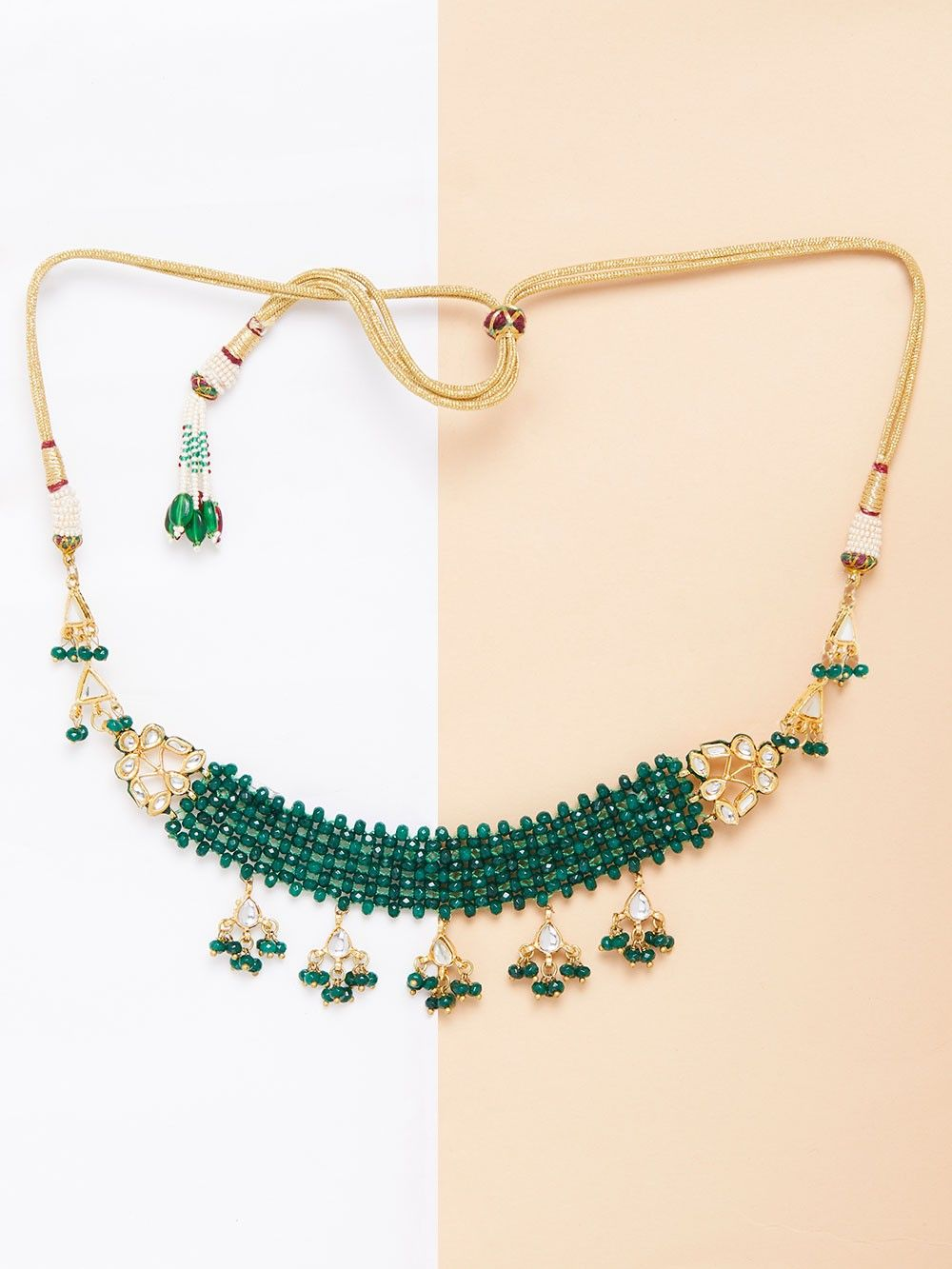 kerala traditional green broad nagapadam necklace