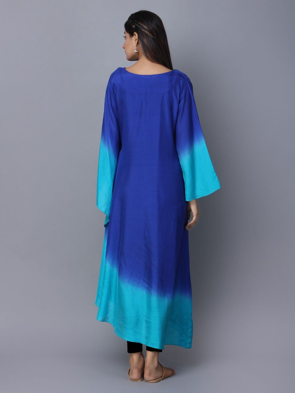 Buy Blue Turquoise Ombre Silk Kaftan Online At Theloom
