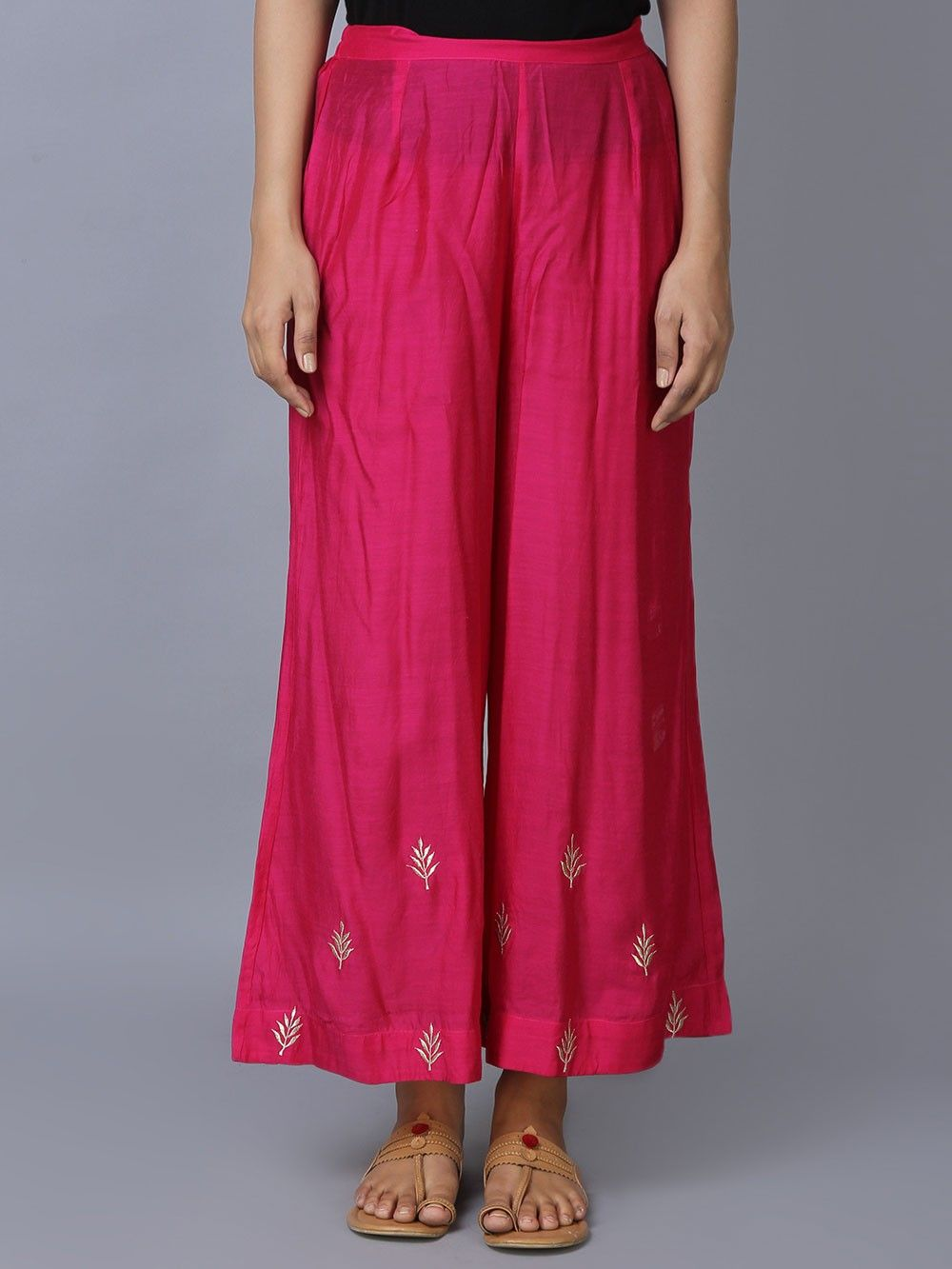 Buy Pink Modal Silk Straight Kurta With Palazzo Set Of 2