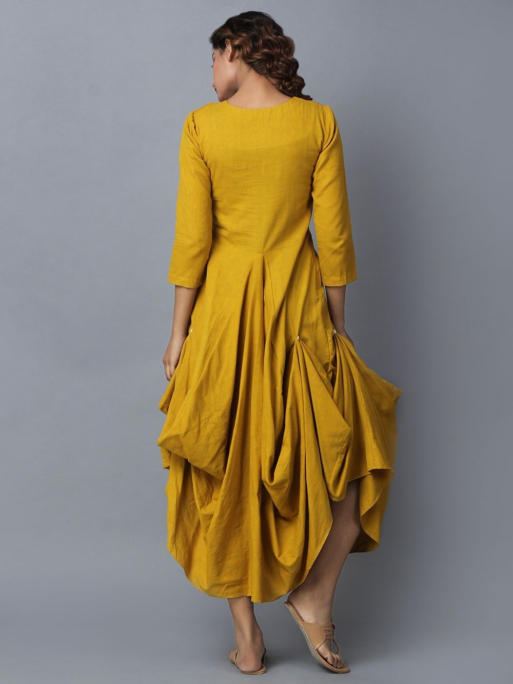 Excellent Buy Mustard Yellow Cotton Linen Asymmetric Dress online at Theloom GX35