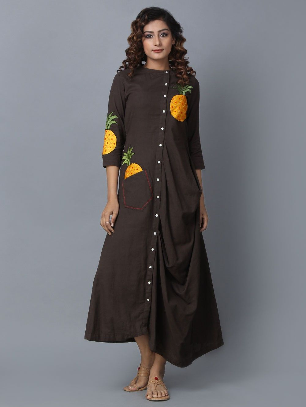 Brand new Buy Brown Cotton Linen Asymmetric Dress online at Theloom FI99
