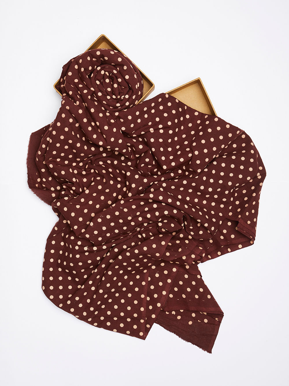 Buy brown polka dot hand block printed cotton fabric 2 5 for Printed cotton fabric