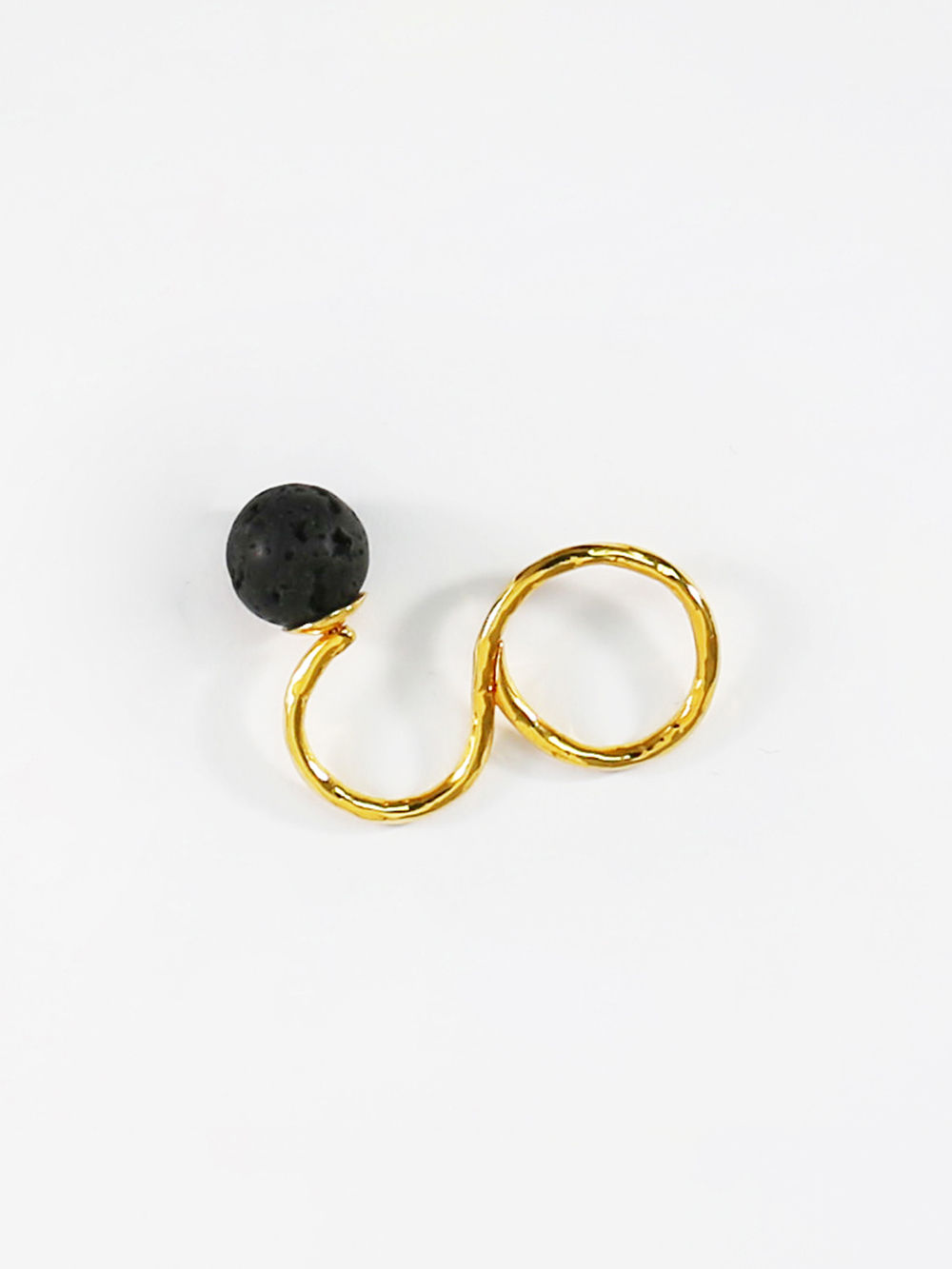 Buy Golden Black Brass Double Finger Ring online at Theloom
