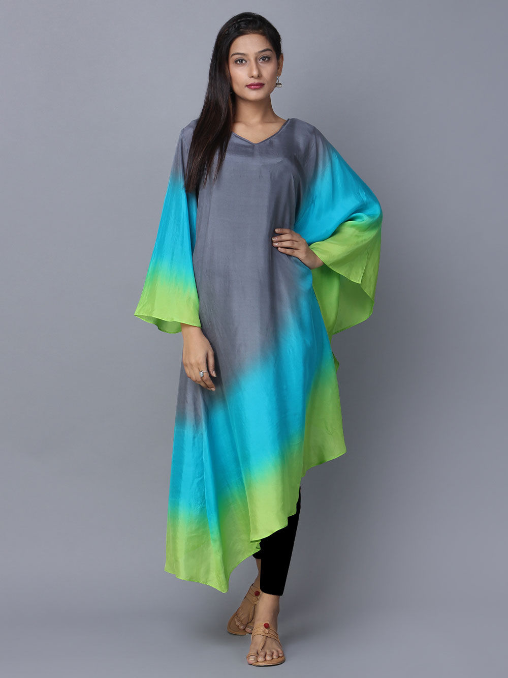 Buy Grey Blue Green Ombre Silk Kaftan Online At Theloom