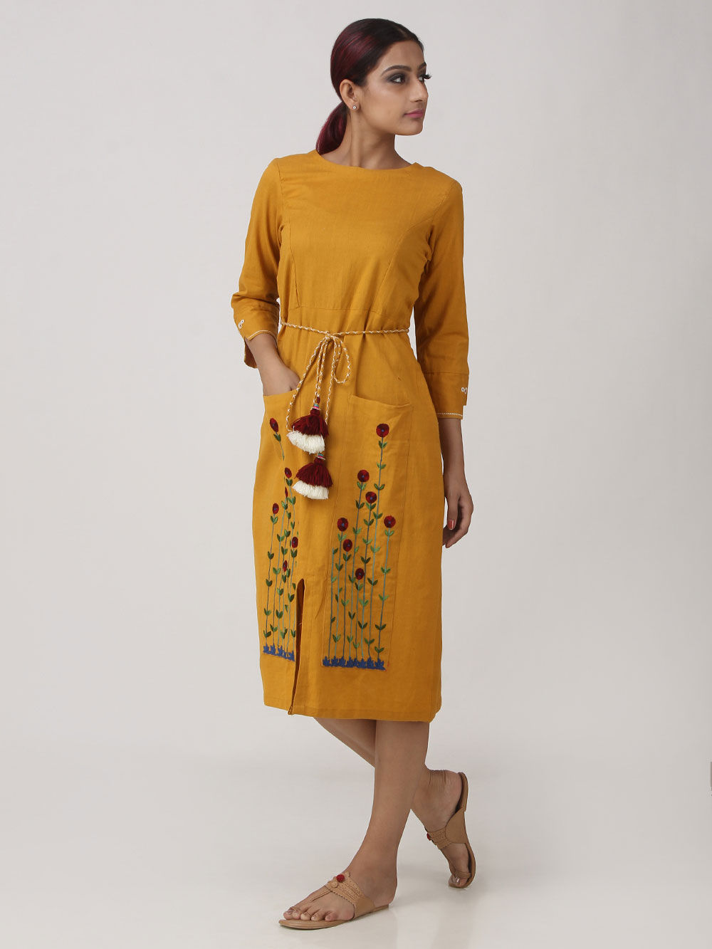 Mustard Yellow Khadi Cotton Embroidered Dress