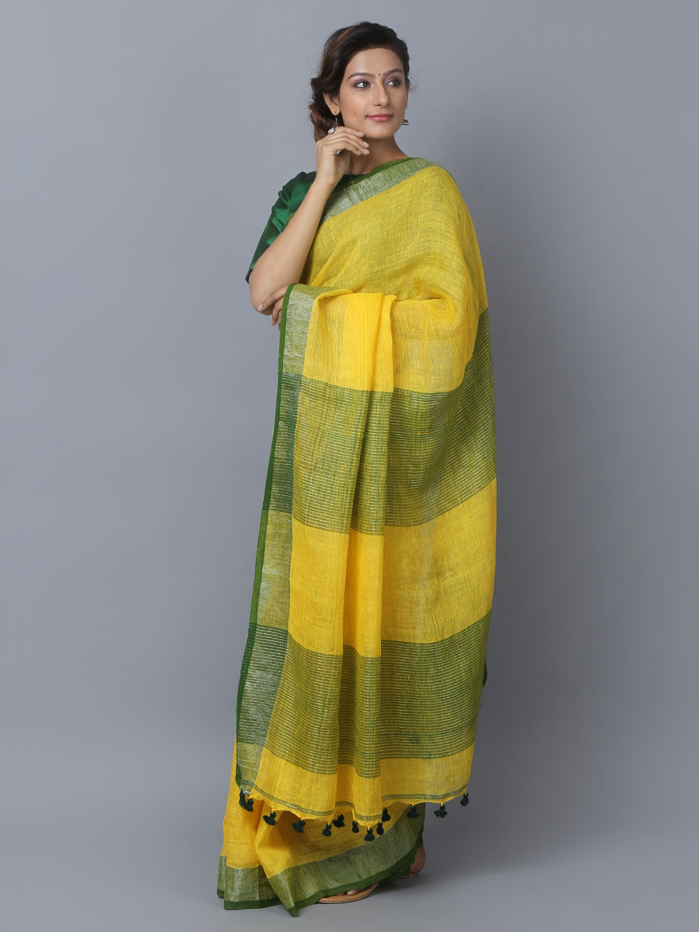 Buy Yellow Linen Saree online at Theloom