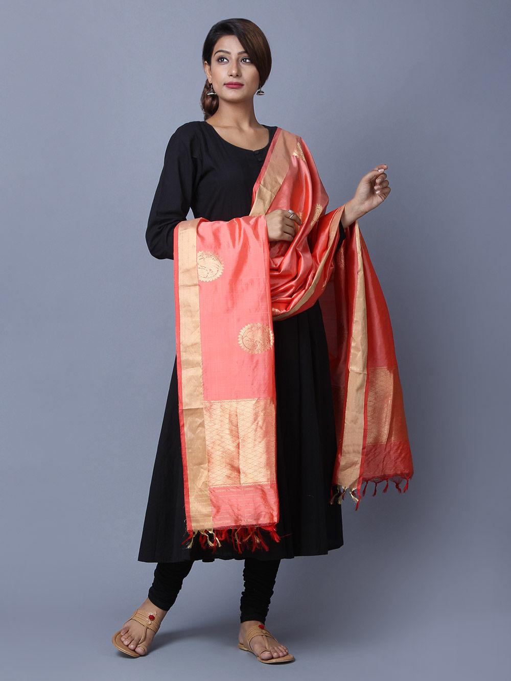 Buy Peach Silk Handwoven Banarasi Dupatta Online At Theloom