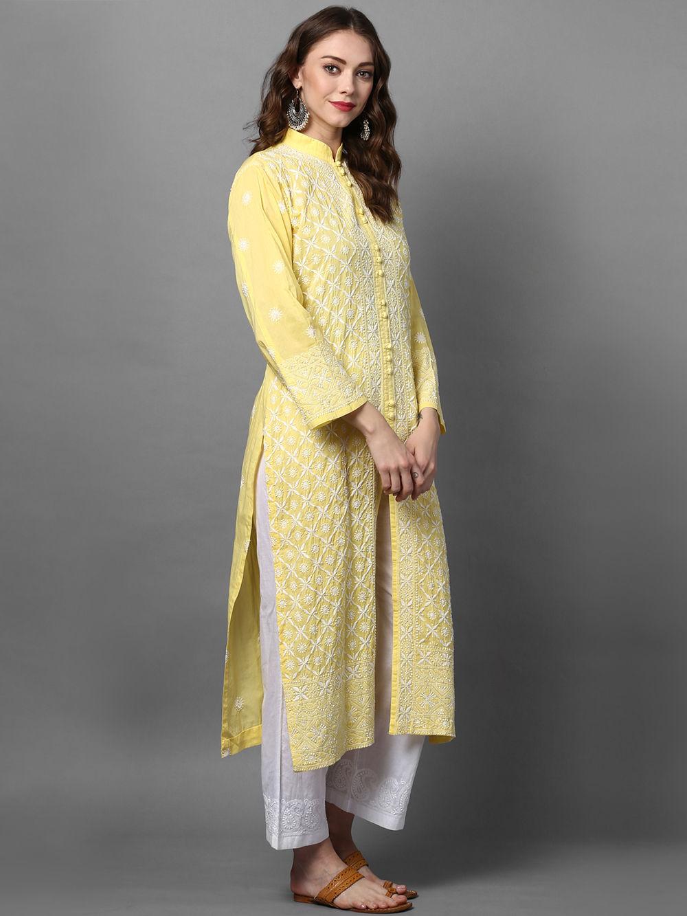Buy Yellow Cotton Chikankari Kurta online at Theloom