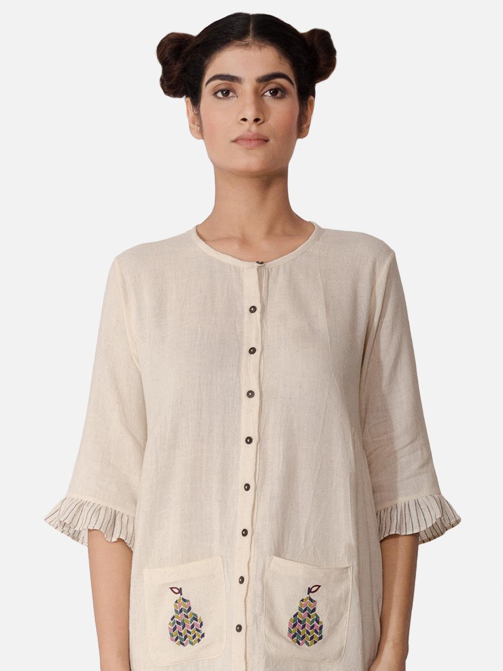 Buy off white cotton hand embroidered short kurta online
