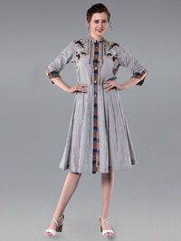 Grey White Embroidered Cotton Striped Dress