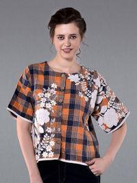 Orange Blue Embroidered Cotton Shirt