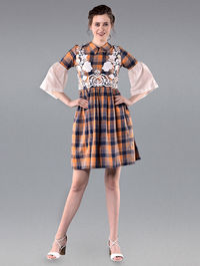 Orange Blue Cotton Flared Dress