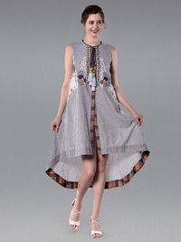Grey White Embroidered Cotton Striped High Low Dress