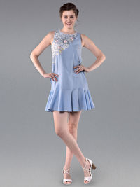 Blue Embroidered Cotton Dress