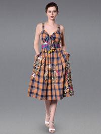 Orange Blue Embroidered Cotton Checkered Dress