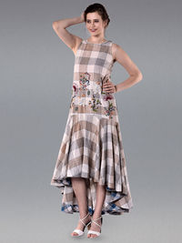 Ivory Brown Cotton Checkered High Low Dress