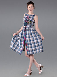 Blue White Embroidered Cotton Checkered Dress