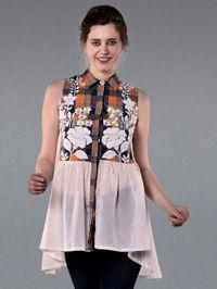 Orange Blue Embroiderd Cotton Flared Shirt