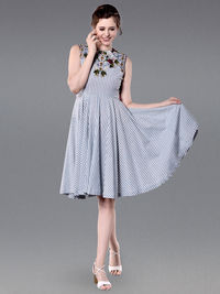 Blue White Embroidered Cotton Striped Dress