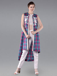 Pink Blue Embroidered Cotton Checkered Jacket