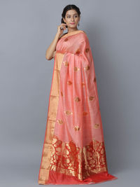 Pink Cotton Silk Handwoven Banarasi Saree
