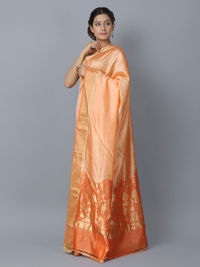 Peach Orange Silk Handwoven Banarasi Saree