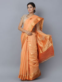Orange Cotton Silk Handwoven Banarasi Saree